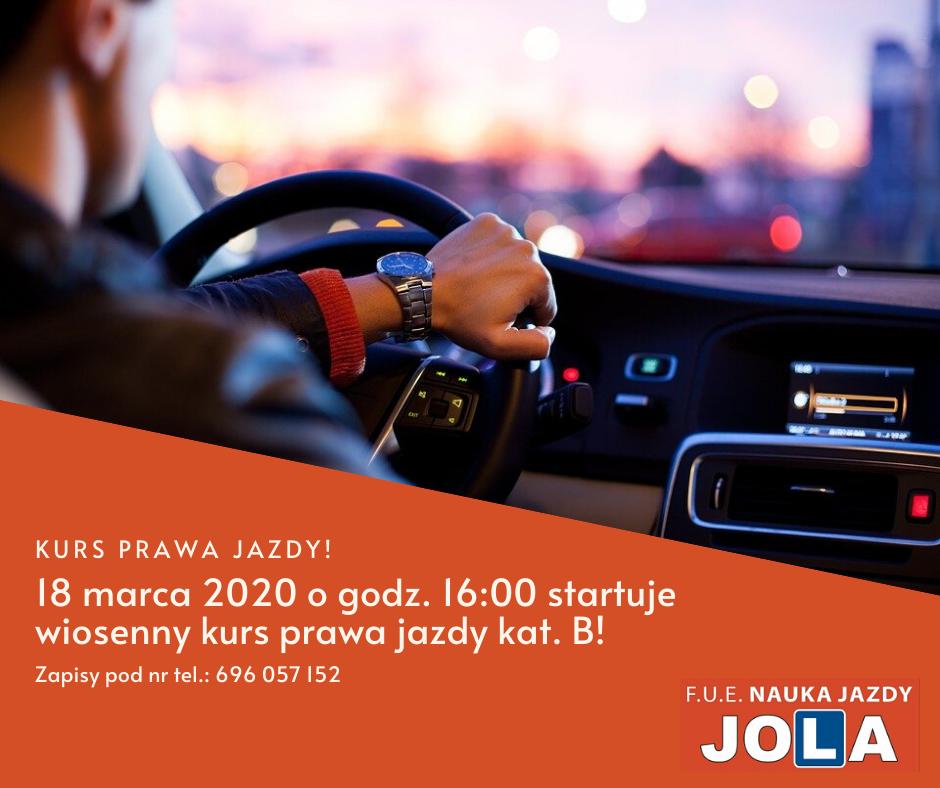Wiosenny kurs prawa jazdy kat. B startuje już 18 marca 2020!