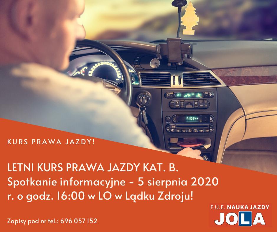 Nowy kurs prawa jazdy kat. B – start 5 sierpnia 2020!